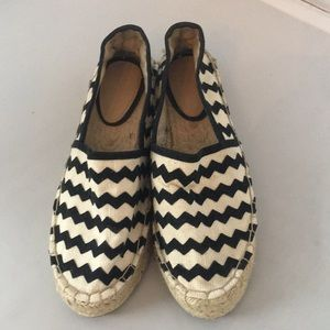 Zara blk wh chevron striped espad flats
